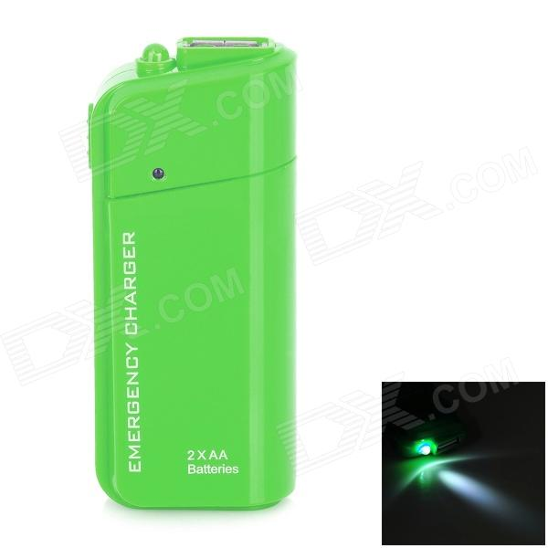 DC-007A Emergency 2 x AA Battery Power Bank Case for Cell Phone - Green dc 007a emergency 2 x aa battery power bank case for cell phone yellow