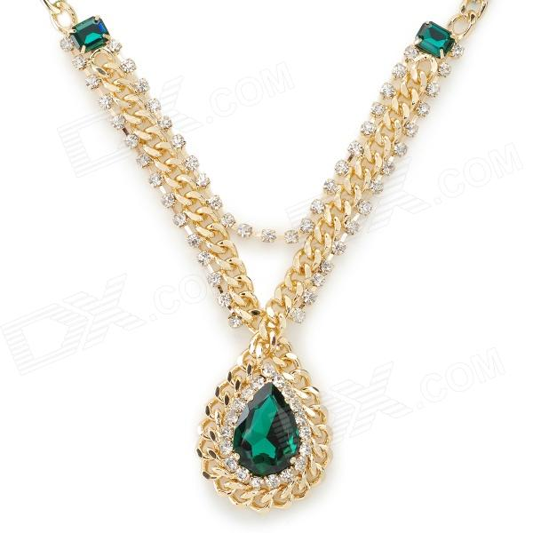 NC-7305 Water Drop Shaped Rhinestone Necklace