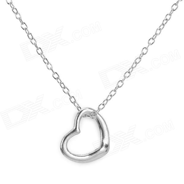 Heart Style Silvering Alloy Necklace for Women - Silver