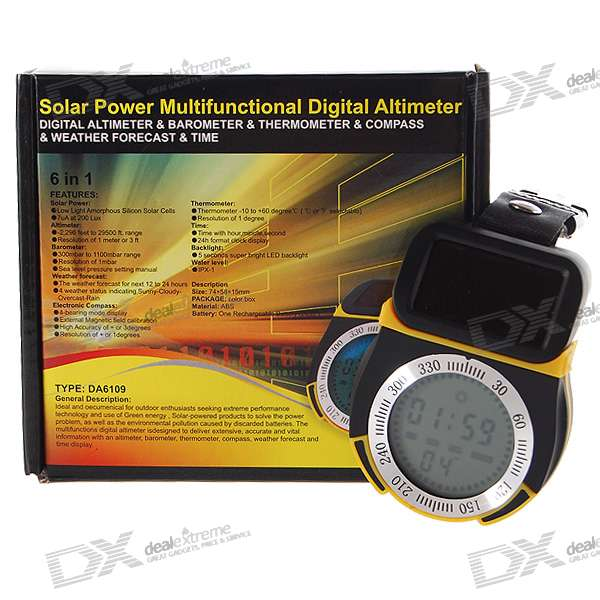 Solar Powered Digital Compass Altimeter + Barometer + Thermometer