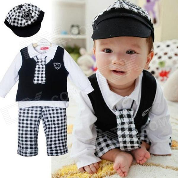 Boy Gentleman Plaid 5-in-1 Cotton Long-Sleeved Shirt + Pant + Hat + Tie + Vest Set - White + Black