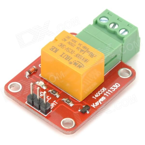 Keyes FR4 Relay Module for Arduino - Red + Yellow + GreenRelays <br>BrandKeyesModelN/AQuantity1 DX.PCM.Model.AttributeModel.UnitForm  ColorOthersMaterialFR4English Manual / SpecNoDownload Link   http://app.box.com/s/chvnt3m1kpla30cxai2cOther FeaturesVoltage: 5V; Interface: digital level; Contact: mormally open, normally close; Contact current: Max. Load3APacking List1 x Relay module<br>