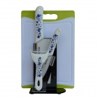 "BESTLEAD 4"" Ceramics knife + 6.5"" Kitchen Knife + Peeler + Board + Holder Set - White + Navy"