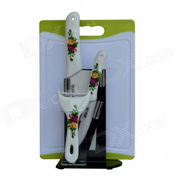 BESTLEAD 4 Ceramics knife + 6.5 Kitchen Knife + Peeler + Board + Holder Set - White + Yellow bestlead 4 6 ceramics knife peeler set blue white