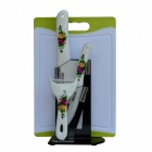 "BESTLEAD 4"" Ceramics knife + 6.5"" Kitchen Knife + Peeler + Board + Holder Set - White + Yellow"