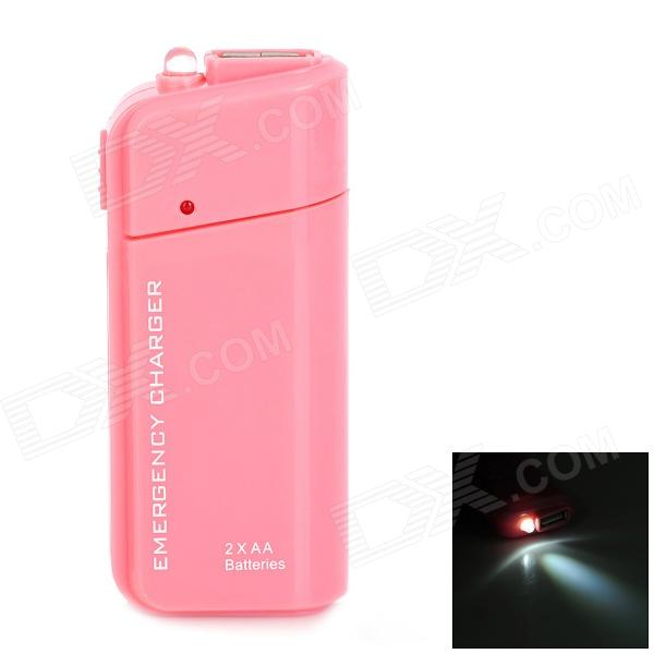 DC-007A Emergency 2 x AA Battery Power Bank Case for Cell Phone - Pink dc 007a emergency 2 x aa battery power bank case for cell phone yellow