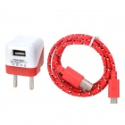 5V 1000mA EU Plug Power Adapter w/ Charging Cable for LG Nexus 5 + More - Red + White (100~240V)