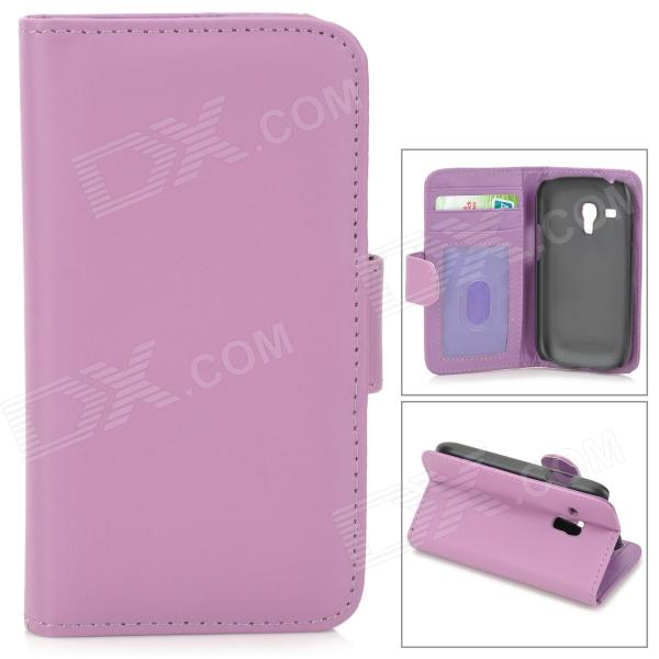 все цены на  Protective PU Leather Case w/ Screen Protector for Samsung Galaxy S3 Mini i8190 - Purple  онлайн