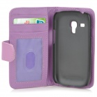 Protective PU Leather Case w/ Screen Protector for Samsung Galaxy S3 Mini i8190 - Purple