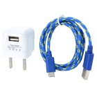 5V 1000mA EU Plug Power Adapter w/ Charging Cable for LG Nexus 5 + More - White + Blue (100~240V)