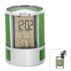 "HC-201A Multi-Function 3"" LCD Alarm Clock / Thermometer / Pen Holder - Silver + Green (2 x AG13)"
