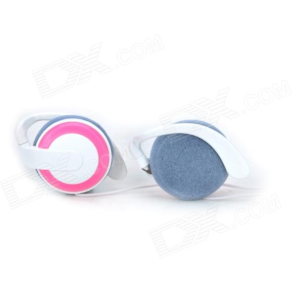 Universal Ear-Hook Style 3.5mm Plug Earphone for - White + Pink
