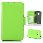 Protective PU Leather Case w/ Screen Protector for Samsung Galaxy S3 Mini i8190 - Green