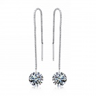EQute ESIW7 Fashionable S925 Sterling Silver White Zirconia Long Earrings - Silver (Pair)