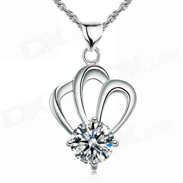 EQute Elegant S925 Sterling Silver White Zircon Pendant Women's Necklace - White + Silver 15 industrial panel pc capacitive touchscreen core i3 cpu 4g ddr3 ram 500gb hdd all in one computer 15 inch hmi