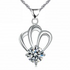 EQute Elegant S925 Sterling Silver White Zircon Pendant Women's Necklace - White + Silver