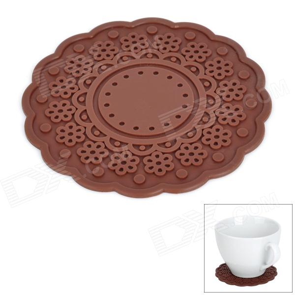 Flower Style Silicone Cup Lid / Heat Insulation Pad - Coffee