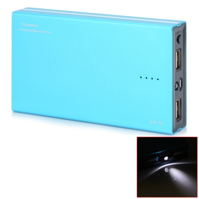 12000mAh Dual USB tragbare Mobile Power Source Bank-w / LED für iPhone / Samsung / HTC - Blau + Schwarz