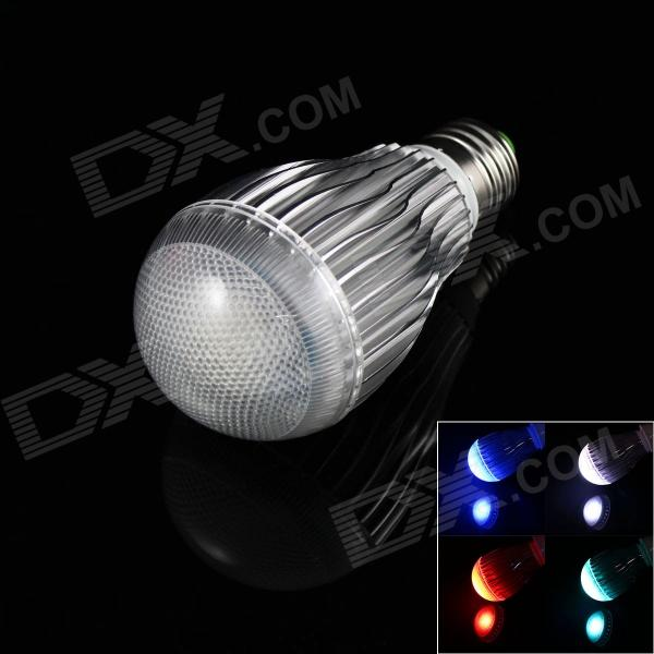 E27 10W 6000mcd RGB Light Lamp Bulb w/ Remote Controller - White + Silver (AC 85~265V) jr led e27 10w 500lm led rgb light bulb w remote control white silver ac 85 265v