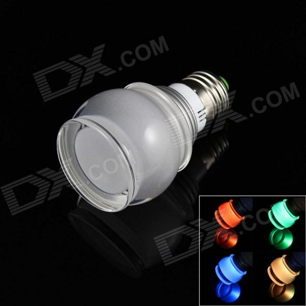 Drum Style E27 3W 6000mcd LED RGB Light Lamp Bulb w/ Remote Controller - Yellow + Silver (85~265V)