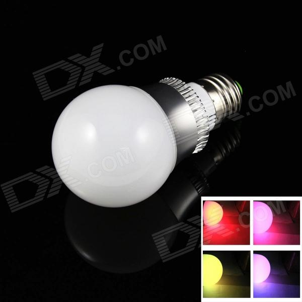 E27 3W 6000mcd LED RGB Light Lamp Bulb w/ Remote Controller - White + Silver (AC 85~265V) jr led e27 10w 500lm led rgb light bulb w remote control white silver ac 85 265v