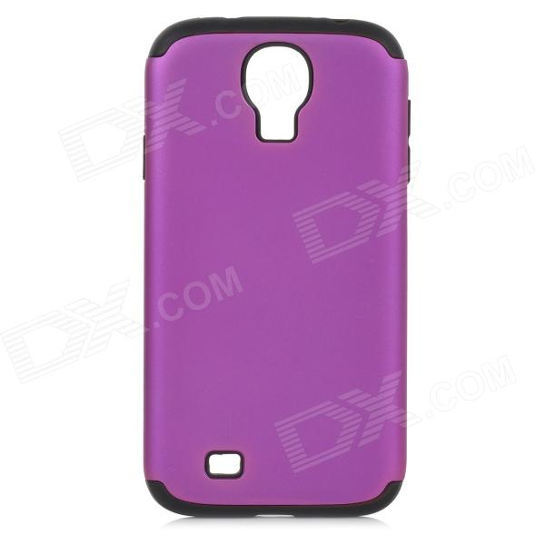 Protective Plastic + Silicone Back Case for Samsung S4 i9500 - Purple + Black 8x zoom telescope lens back case for samsung i9100 black