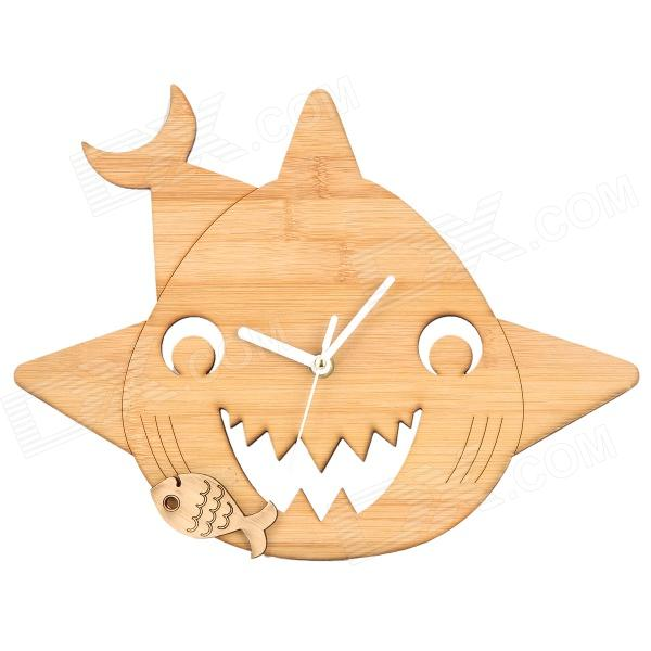 MB004 Shark Style Wood Wall Clock - Wood Color