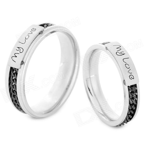 SHIYING JZ0115 My Love 316L Stainless Steel Couple Rings - Black + Silver shiying men s fashion 316l stainless steel split leather bracelet black silver