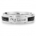 "SHIYING JZ0115 ""My Love"" 316L Stainless Steel Couple Rings - Black + Silver"