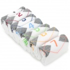 Casual Cotton Sock w/ Days of The Week Mark - White + Grey + Multi-Colored (7 Pair)