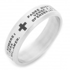 SHIYING jz013 Fashion Pray Bible Pattern Stainless Steel Ring for Men - Silver + Black
