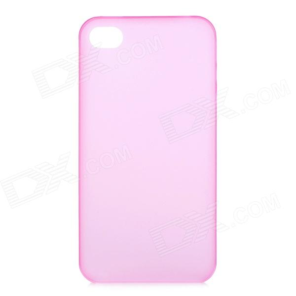 S-What 0.3mm Ultrathin Protective Frosted TPU Back Case for IPHONE 4 / 4S - Translucent Pink cartoon pattern matte protective abs back case for iphone 4 4s deep pink