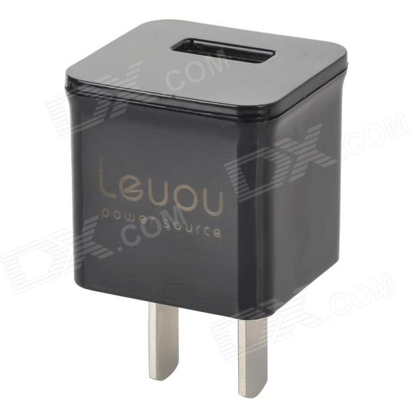 Leyou Convenient Mini Portable US Plug USB Output Power Adapter for IPHONE / Samsung / HTC - Black