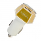 Hexagon Style E-Strong Dual USB Car Charger w/ Indicator USB Charging Cable for Cellphone / Camera
