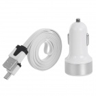 USB to Micro USB Charging/Data Cable + 3.1A Dual USB Car Cigarette Lighter for Samsung / HTC (100cm)