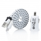 1000mA Car Charger + Samsung Note 3 Nylon Housing Charging & Data Sync Cable Set - White + Black
