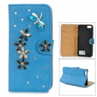 PUDINI Protective Flip-open PU Leather Case w/ Holder for IPHONE 5 - Blue