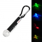 LED 2-in-1 2-LED White + Colorful + Red Laser Flashlight w/ Carabiner - Black + Silver (3 x LR44)