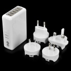 KWEN TC05 USB 5-Port EU/US/AU/UK/ Power Adapter Charger w/ Indicator - White (100~240V)
