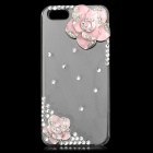 Camellia Flower Style Rhinestone Protective Plastic + Zinc Alloy Case for IPHONE 5 / 5S