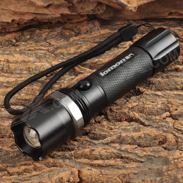 Lomon M007 Zooming 1-LED Cool Light 3-Mode Bike Flashlight - Black (3.7V)