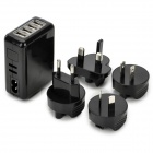 KWEN TC09-iG USB 4-Port EU/US/AU/UK/ Power Adapter Charger w/ Indicator - Black (100~240V)