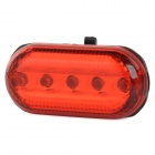 FJQXZ 5-LED Red Light Water Resistant Warning Tail Lamp for Bicycle - Transparent + Red (2 x AAA)