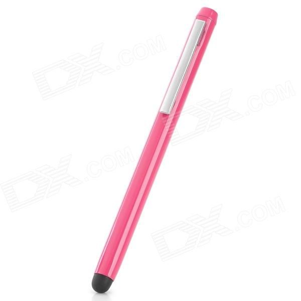 Universal Aluminum Alloy Touch Screen Stylus Pen w/ Clip - Pink