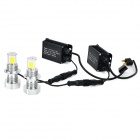 H7 25W 3000lm 5000K 6-LED White Light Car Lamper - Sølv + Svart (2PCS / 12 ~ 36V)