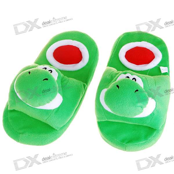 Cute Yoshi Soft Indoor Winter Cotton Slippers (Green)