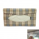 JRN J-021 PU Leather Car Visor Mounted Hanging Tissue Box + Tissue Set - Beige + Brown