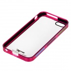 Zomgo Protective Plastic + Aluminum Alloy Back Case for IPHONE 5 / 5S - Transparent + Deep Pink