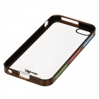 Zomgo Stylish Protective Plastic + Aluminum Alloy Back Case for IPHONE 5 / 5S - Transparent + Coffee