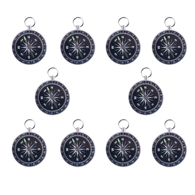 High Quality Mini Aluminum Compass - White + Black (10 PCS)
